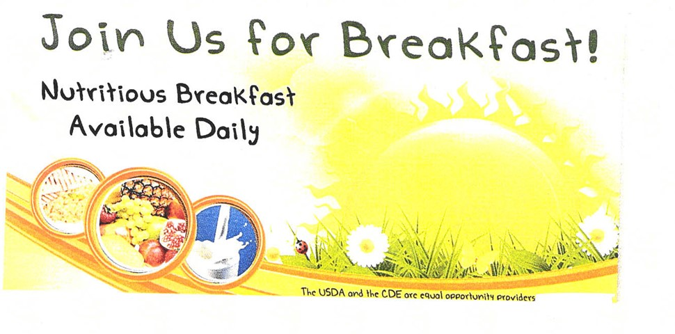 Nutritious breakfast is available daily in each building with a picture of food groups.