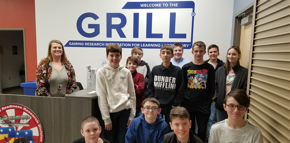 Mrs. Ferriels class visiting the Air Force Gaming Lab