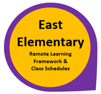 East Elementary Remote Framework and Class Schedules in Yellow circle outlined in purple