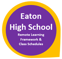 Eaton High School Remote Learning Framework and Class Schedules in purple circle outlined in yellow
