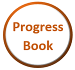 Circle outlined in orange with word Progress Book inside